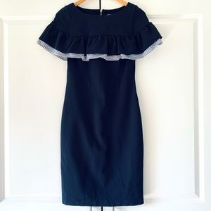 Eliza J Sz 2 Sheath Dress Ruffle Navy Ponte Knit Special Occasion Short Sleeve